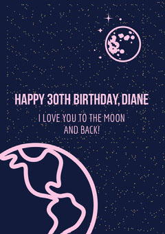 Blue and Pink Birthday Wishes Card Earth
