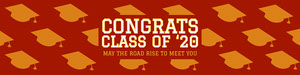 red graduation 16 oz water bottle label  Etichetta