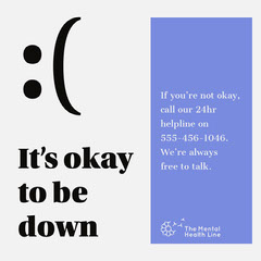 Blue Emoji Mental Health Hotline Instagram Square Campaign