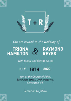 Teal Floral Square Frame Wedding Invitation Card Frame