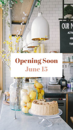 Cafe Interior Photo Business Reopening Announcement Instagram Story Opening Soon