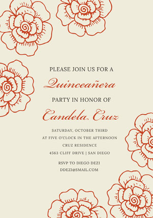 Red Floral Elegant Quinceanera Birthday Invitation Card Convite para festa de 15 anos