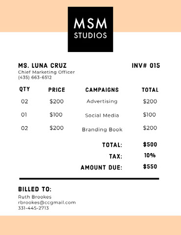 Yellow Marketing Agency Invoice Invoice