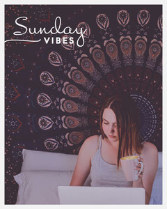 Sunday Instagram Portrait Graphic with Woman Spending Leisure Time Sunday