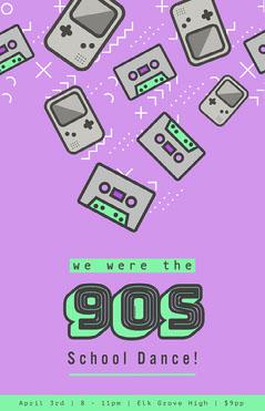 Purple 90s School Dance Poster Dance Flyer