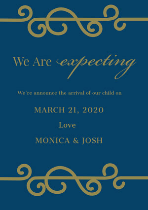 Blue and Gold Decorative Pregnancy Announcement Card Annonce de grossesse