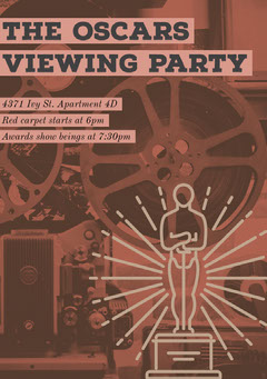 Brown Oscars Viewing Party Invitation Card Brown