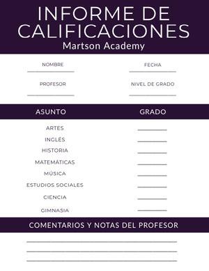 academy report cards Libreta de calificaciones
