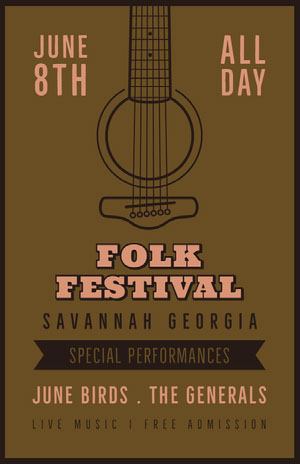Green and Pink Folk Festival Poster Music Festival Poster