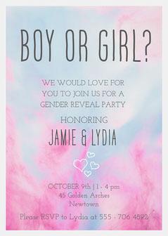 Pink & Blue Sky Gender Reveal Invite Card Gender Reveal Flyer