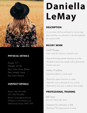 Black and Brown Actress Resume with Photo of Woman CV professionnel