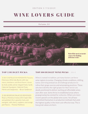 WINE LOVERS GUIDE Newsletter
