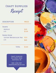 craft paint supplies receipt Paint