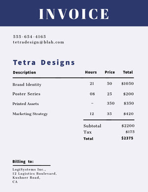 Blue Graphic Design Business Invoice Faktura