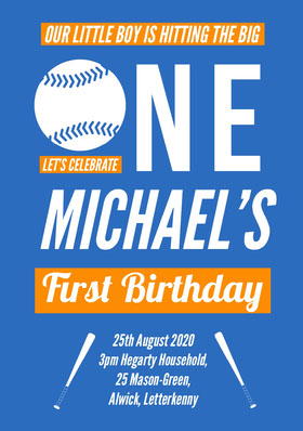 Blue and Orange Baseball Birthday Party Invitation Card for Boy Birthday Invitation (Boy)