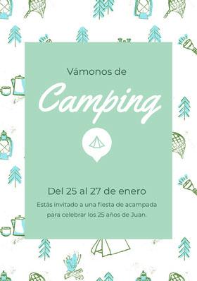 Camping Invitación de cumpleaños