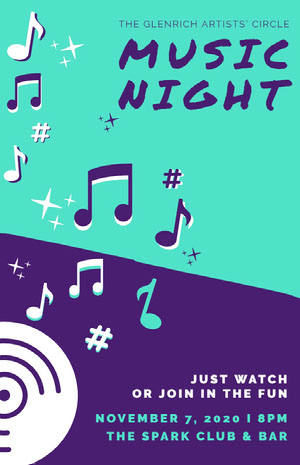 Blue and Violet Music Night Poster Concert Poster