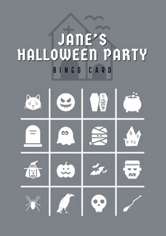Grey and White Halloween Murder Mystery Party Bingo Card Halloween Party Bingo Card