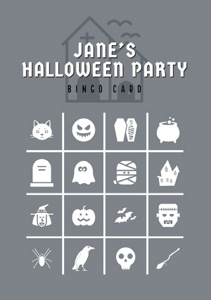 Grey and White Halloween Murder Mystery Party Bingo Card ビンゴカード
