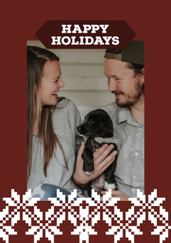 Red and White Framed Couple Christmas Card  Christmas