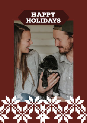 Red and White Framed Couple Christmas Card  Christmas Card