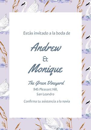 swan patterned wedding cards  Invitación de boda