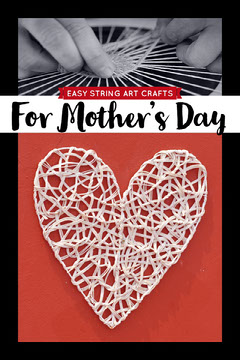 Red and Black Mothers Day Easy String Art Crafts Pinterest Graphic with Heart Heart
