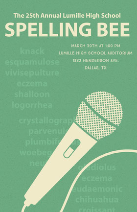 Green Illustrated Spelling Bee Competition School Event Flyer with Microphone Veranstaltungs-Flyer