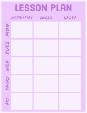 Pink and Purple Weekly Lesson Plan Horario de clase