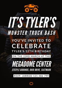 Black Monster Truck Birthday Party Invitation Card for Boy Birthday Bash
