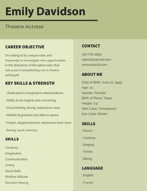 Pale Green Theatre Actress Resume Curriculum per attori