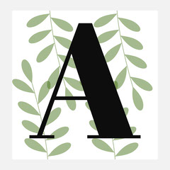 botanical monogram square sticker Leaf
