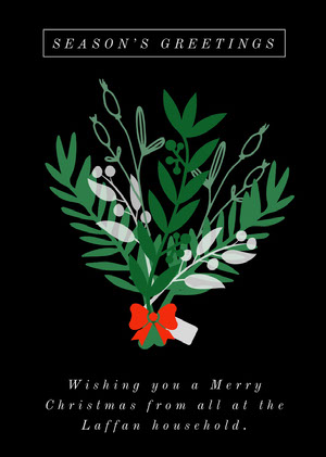Black and Green Illustrated Season's Greetings Card with Mistletoe Christmas Card