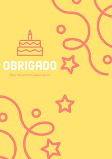 yellow and pink confetti thank you cards  Cartão de aniversário