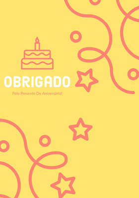 yellow and pink confetti thank you cards  Cartão de agradecimento