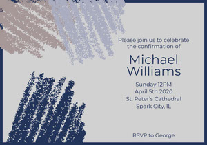 Navy Blue First Holy Communion Invitation Confirmation Invitation