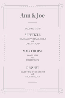 White and Grey, Light Toned Wedding Menu  Menú de bodas