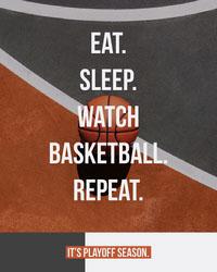 Orange and Gray Basketball Playoff Season Ad with Ball on Court Basketball