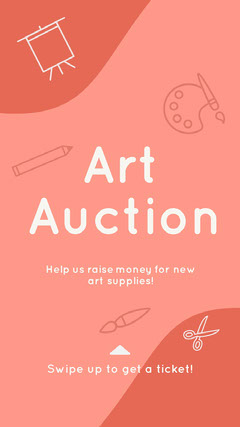Red Illustrated Art Auction Instagram Story  Art