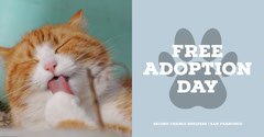 Blue and White, Light Toned Pet Adoption Ad Facebook Banner Cat