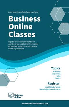 Blue Business Online Classes Poster Finance