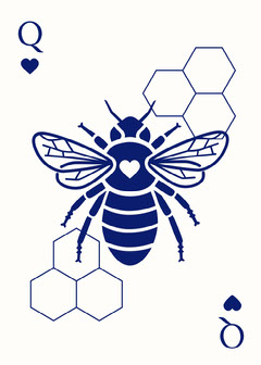 Blue Toile inspired Playing Card Heart
