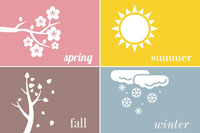 Multicolored Seasons Flashcard for Children  Flashcard