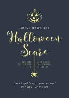Pumpkin Scare Halloween Party Invite Halloween Party Invitation