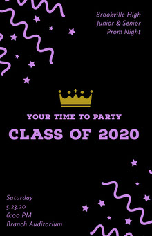 Black and Pink High School Prom Poster with Confetti and Crown School Posters