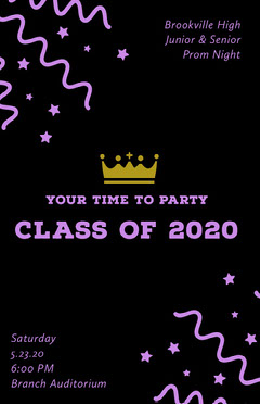Black and Pink High School Prom Poster with Confetti and Crown Back to School