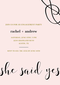 Gold and Black Elegant Engagement Party Invitation Card mariage