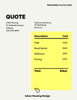 Yellow Graphic Design Business Invoice 청구서