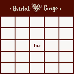 Red Bridal Bingo Card Bingokort