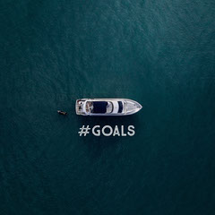 Blue With Boat On Sea Instagram Graphic Boats